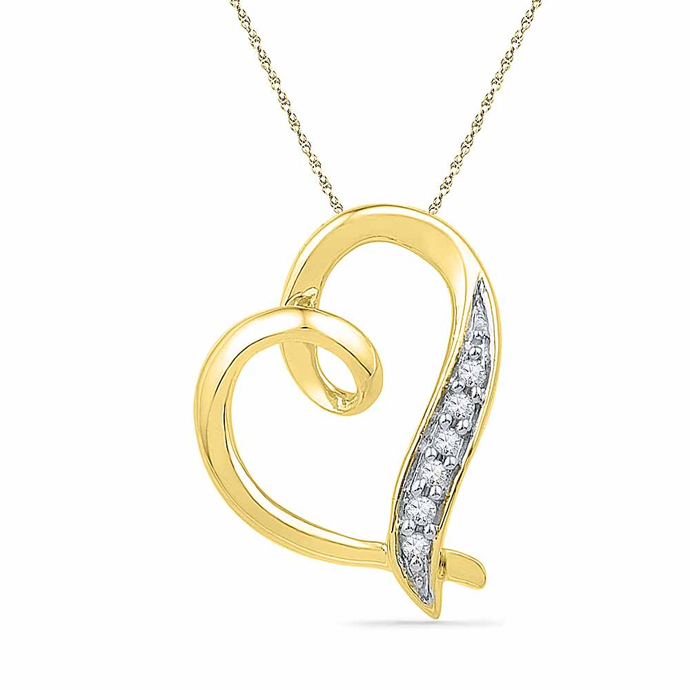 18 Kt Gold Fine Heart Diamond Pendant