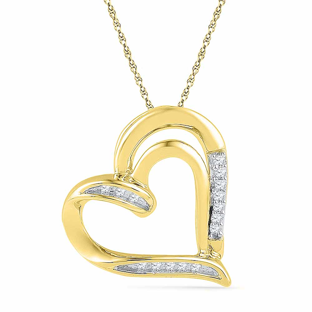 18 Kt Gold Beloved Heart Diamond Pendant