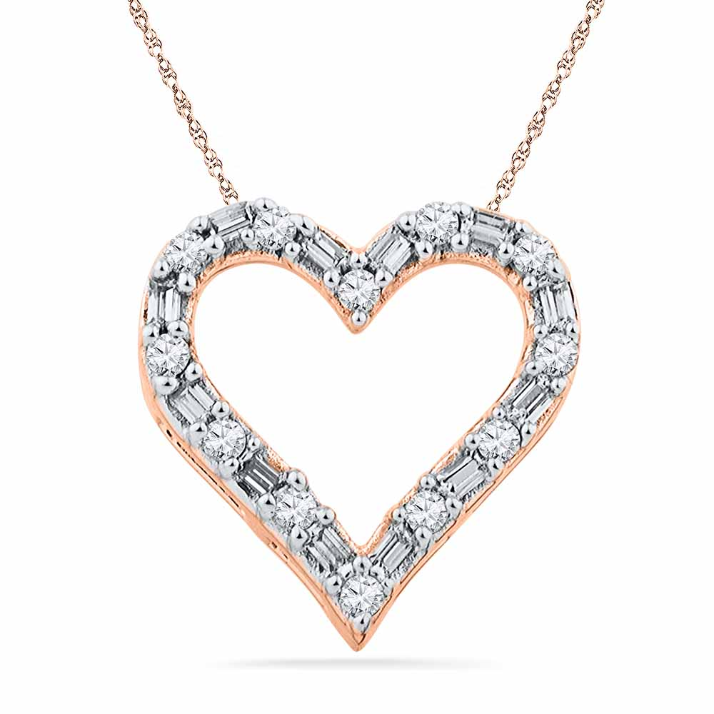 18 Kt Rose Gold Sweet Heart Diamond Pendant