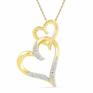 Diamond Pendants-18 Kt Gold Heart In Heart Diamond Pendant