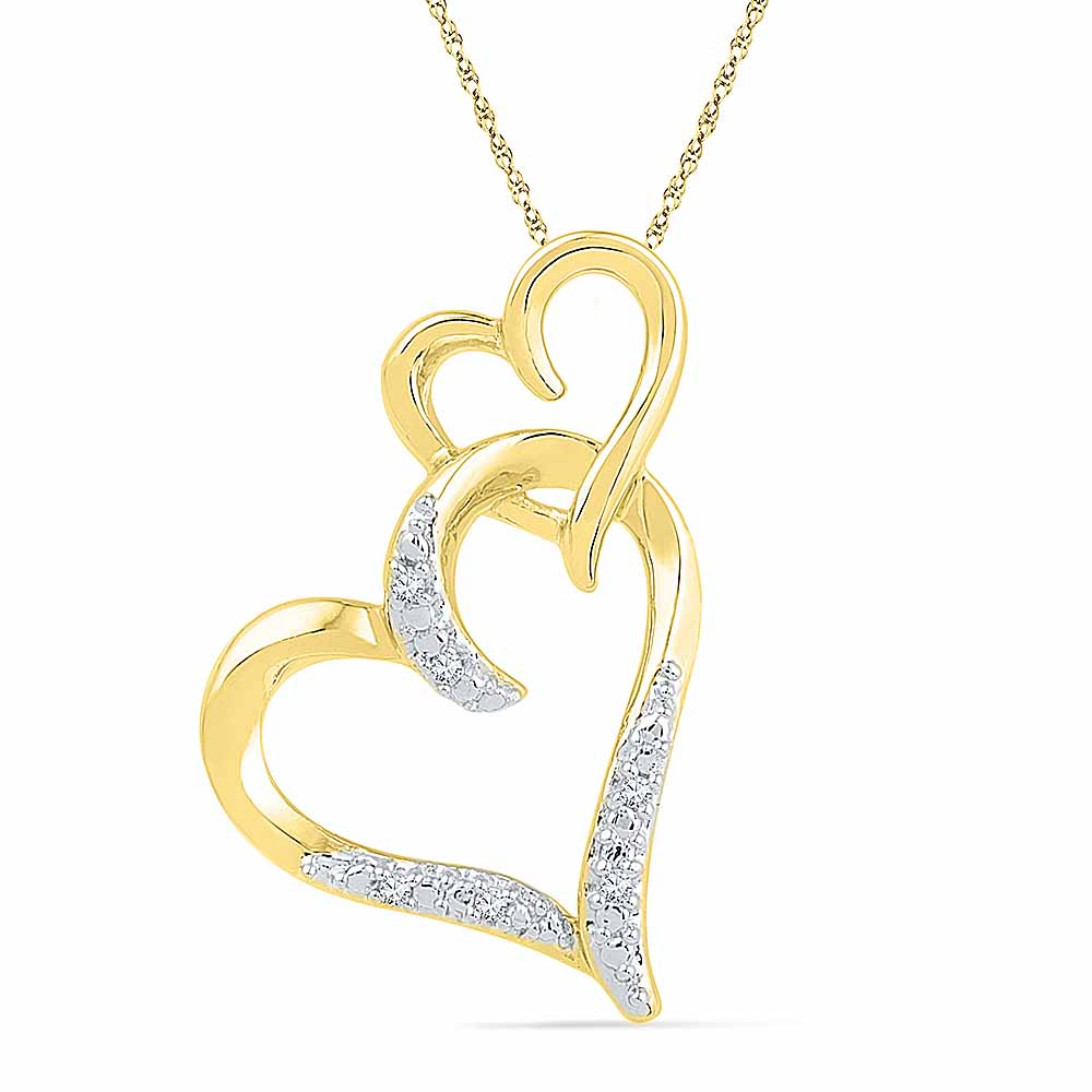 18 Kt Gold Heart In Heart Diamond Pendant