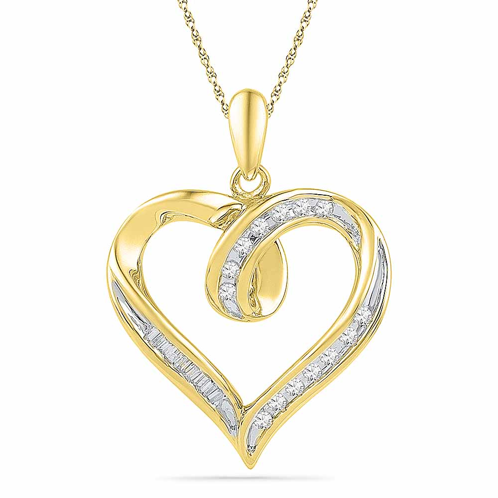 18 Kt Gold Spot Heart Diamond Pendant