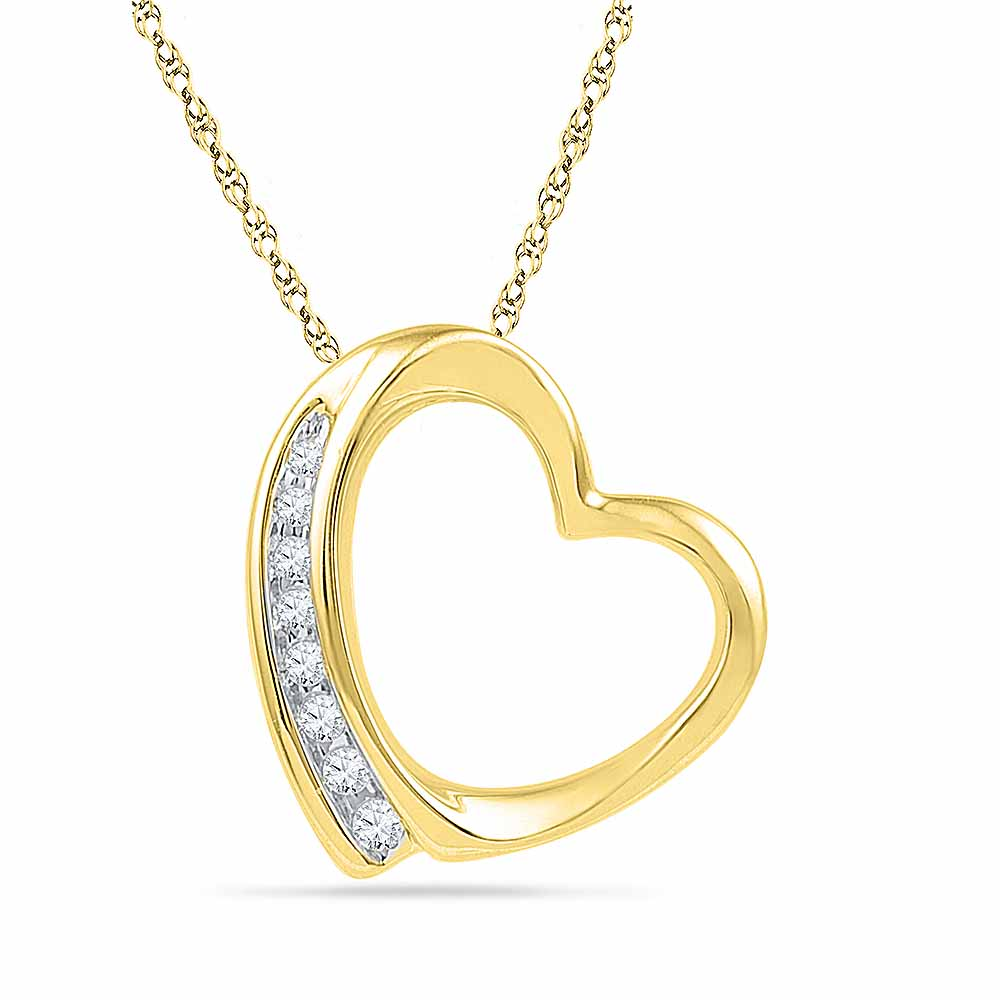 18 Kt Gold Grace Heart Diamond Pendant