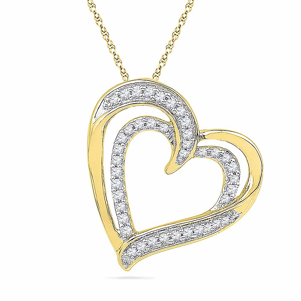 18 Kt Gold You N Me Heart Diamond Pendant