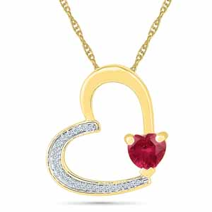 Diamond Pendants-Pleasurable Ruby Pendant