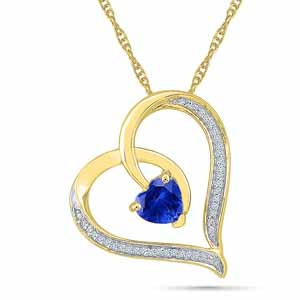 Diamond Pendants-Pleasurable Blue Sapphire Pendant