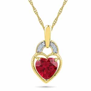 Diamond Pendants-Mellow Ruby Pendant