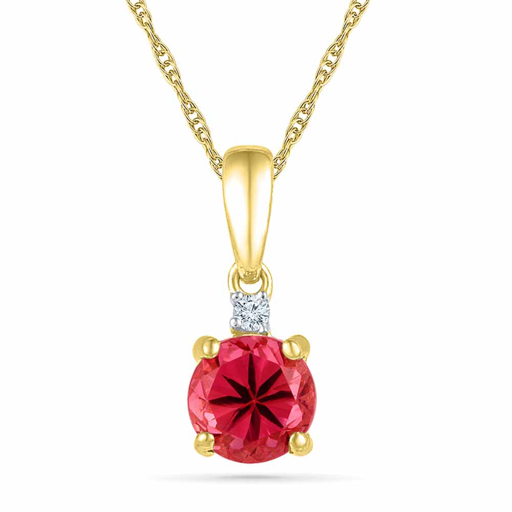 Ruby 18Kt 2.05 Grams Gold & Diamond Pendant
