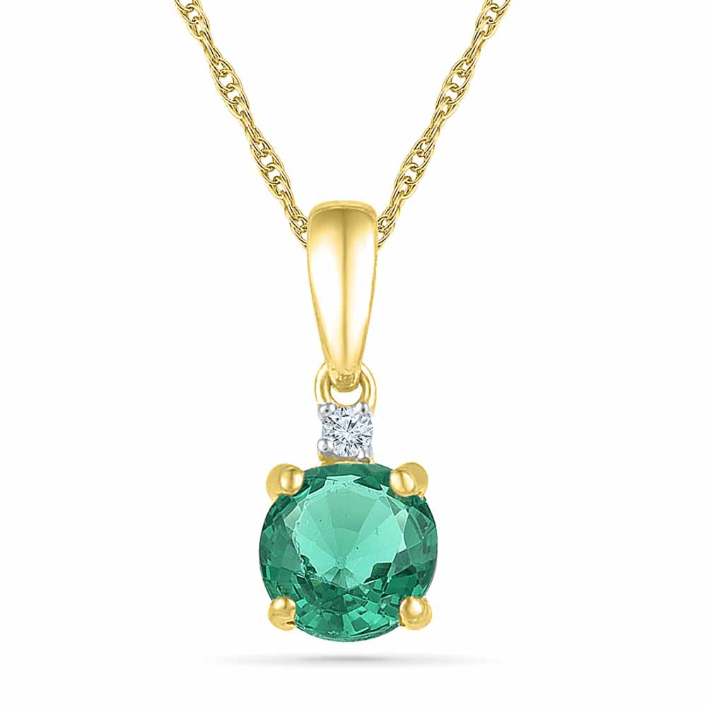 Emerald 18Kt 2.05 Grams Gold & Diamond Pendant
