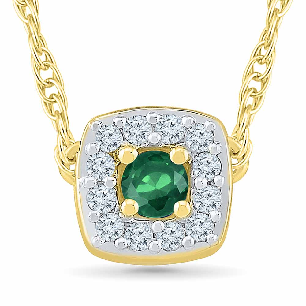 Emerald 18Kt 1.67 Grams Gold & Diamond Pendant