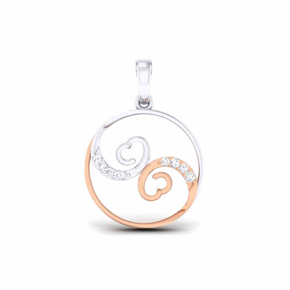 Circular Heart Diamond Pendant