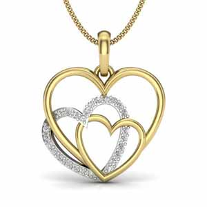 Diamond Pendants-Jasmine Triple Heart Diamond Pendant