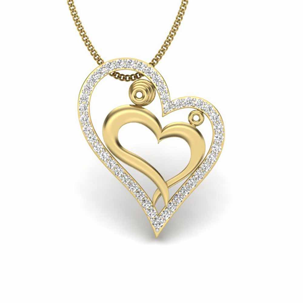 Cute Couple Heart Diamond Pendant