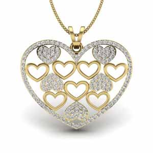 Diamond Pendants-Layer Heart Diamond Pendant