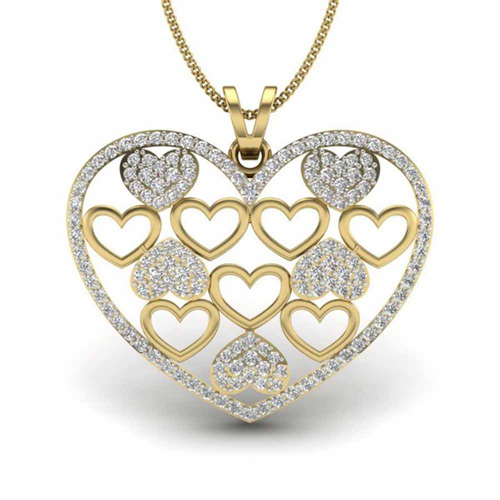 Layer Heart Diamond Pendant
