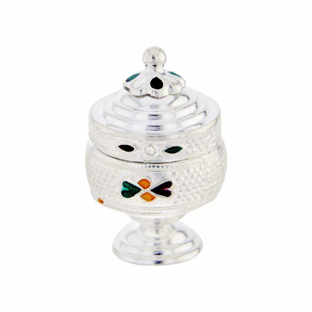 Spiritual Accessories-Silver Flower Kumkum Dabbi