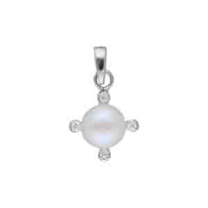 Silver Pendants-Radiant 925 Sterling Silver Pearl Pendant