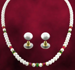 Pearl Sets-Jagdamba Real Ruby and Emerald Pearl Set