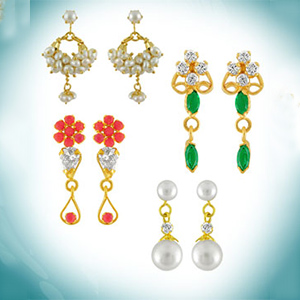 Pearl Earrings-Jagdamba Combo of Four Earrings