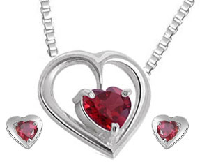 Heart Shaped Garnet Earrings & Pendant Set
