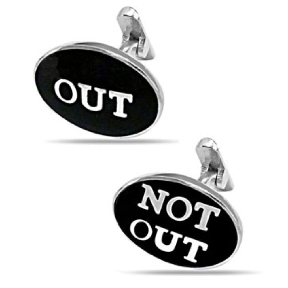 World Cup Cricket Out - Not Out Cufflinks in Silver