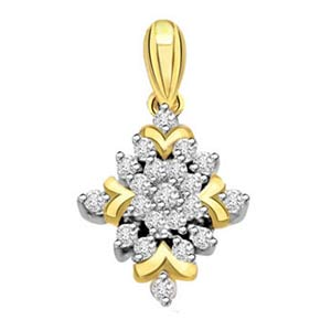 Flower Shape Diamond Pendant
