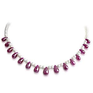 Beautiful Pearl & Drop Shaped Ruby Necklace