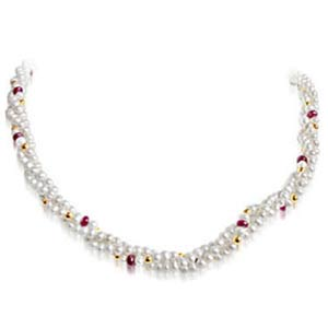 3 Line Pearl & Ruby Necklace