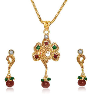 Gold Plated Sets-Flower Shaped Gold Plated Necklace & Earrings Set