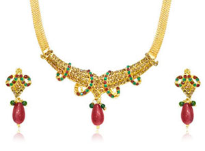 Imitation Sets-Traditional Rajasthani Necklace & Earrings Set