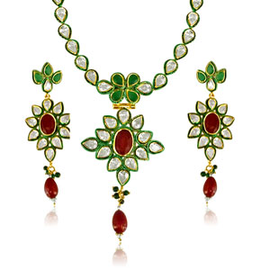Precious Stone Sets-Floral Jodha Akbar Necklace Set