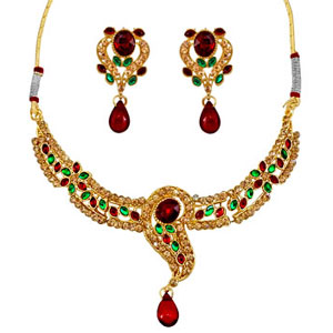 Precious Stone Sets-Red & Green Kundan Necklace Earrings Set