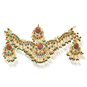 Precious Stone Sets-Maharani Necklace Earrings Set
