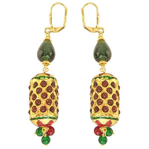 Kundan Earrings-Traditonal Cylinger Shaped Kundan Earrings