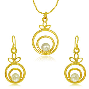 Gold Plated Sets-Pearl & Gold Plated Pendant Earrings Set