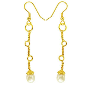 Pearl Earrings-Fancy Freshwater Pearl & Gold Plated Earrings