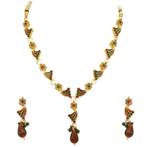 Gold Plated Sets-Gold Plated Necklace Earrings Set