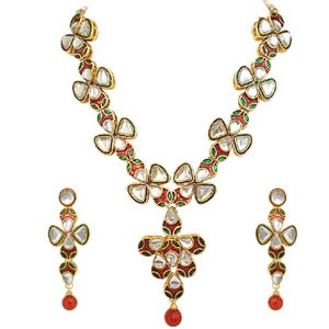 Traditional Polki Necklace Earrings Set