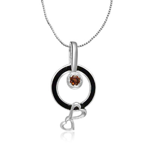 Silver Pendants-Silver & Garnet Heart Pendant with Chain