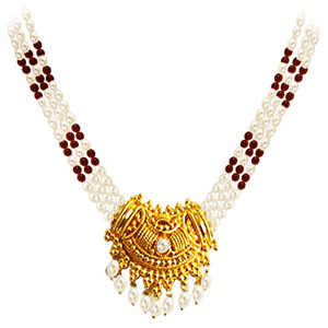 3 Line Garnet & Pearl Necklace