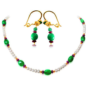 Single Line Necklace & Earrings Set