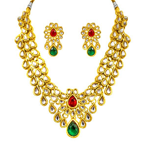 Green & Red Polki Necklace & Earrings Set