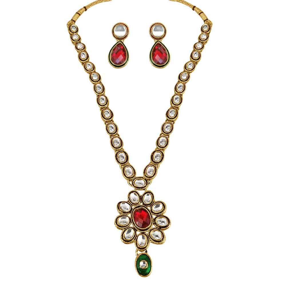 Precious Stone Sets-Red & Green Polki Necklace & Earrings Set