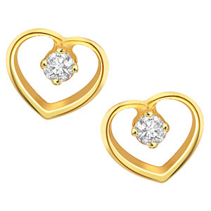 Heart Collection-Heart Shaped Diamond Earrings