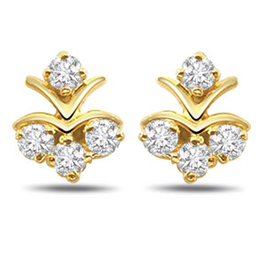 Diamond Earrings-Four Stars
