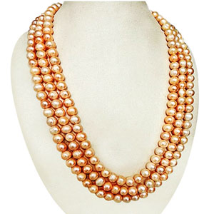 3 Line Peach Pearl Necklace