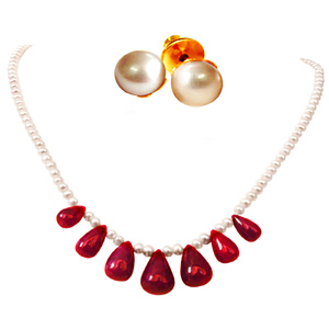Pearl Sets-Pearl & Ruby Necklace Set