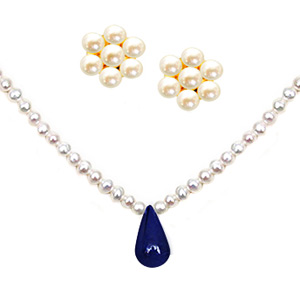 Pearl Sets-Pearl & Sapphire Necklace Set