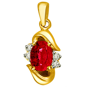 Diamond Pendants-Diamond & Ruby Pendant