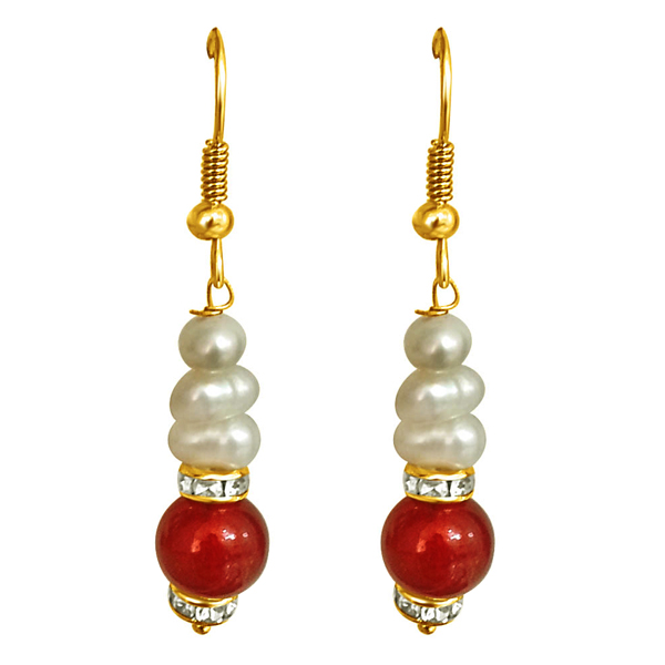 Pearl Earrings-Red Stone & Freshwater Pearl Earrings